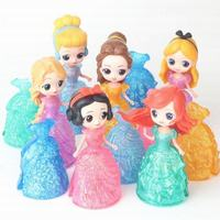 12pcs/Lot Snow White Cinderella Alice Magic Clip Crystal Dress PVC Action Figures Rapunzel Dolls Belle Anime Figurines Kids