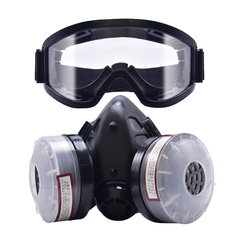 FreeShipping Half Face Gas Mask With Anti-fog Glasses N95 Chemical Dust Mask Filter Breathing Respirators Painting Spray Welding jaisati gas mask for paint 7suits dust filter spray half face mask anti fog haze masks pesticide formaldehyde particles