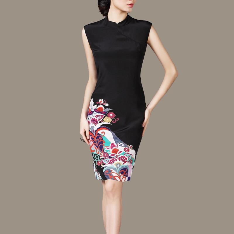 Woman Summer Plus Size Mandarin Collar Sleeveless Black Print 100 silk Slim Dresses Lady Autumn Hedging
