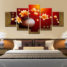 2017 New Arrival Hot Sale 5 Pieces Flower Vase Picture Wall Painting Canvas Art Hd Prints Large Home Decor For Living Room