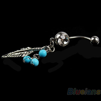 5 Pcs Crystal Ball Leaf Dangle Navel Belly Button Bar Barbell Ring Body Piercing