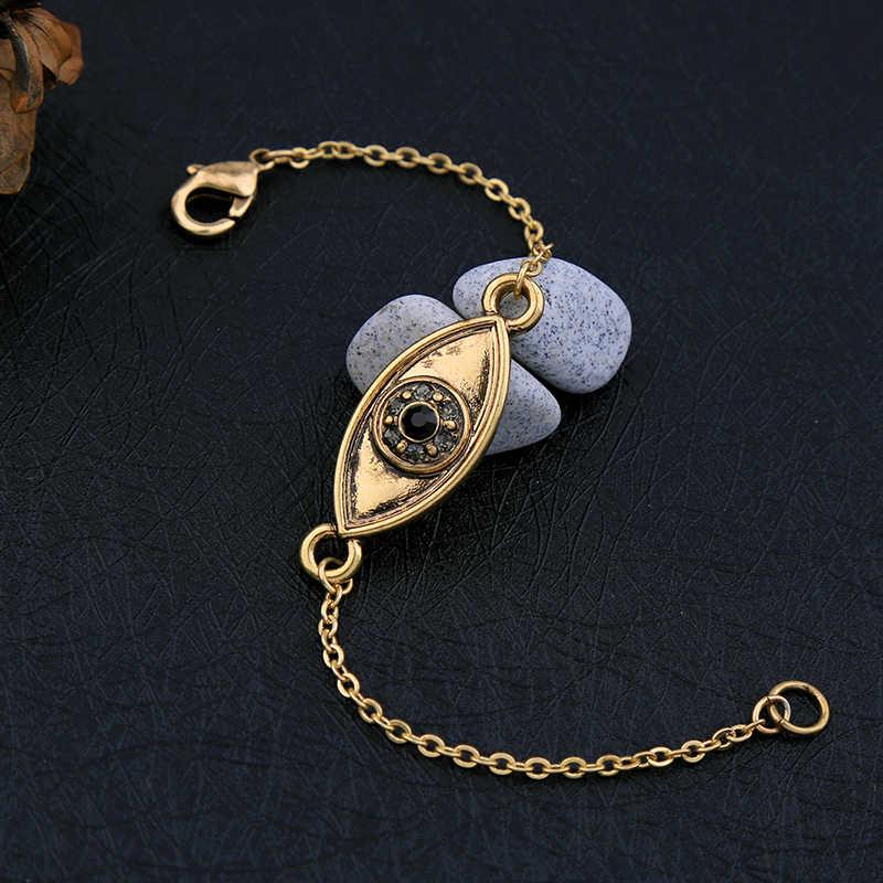 Cena hurtowa antyczne kryształ w złotym kolorze oczu projekt bransoletka Hot sprzedaż kobiety moda biżuteria w stylu Vintage akcesoria Charm bransoletka