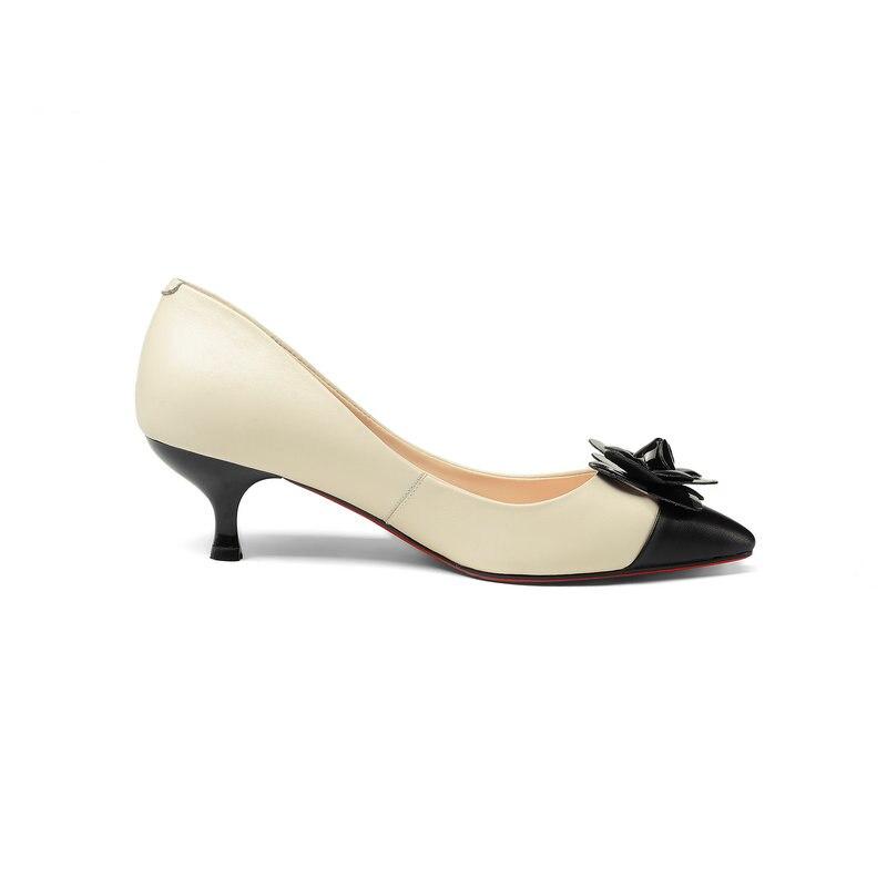 Superstar słodkie czarny morela kobiety pompy prawdziwej skóry buty szpilki Stiletto 5 cm wieczór marka duży rozmiar 43 w Buty damskie na słupku od Buty na  Grupa 3