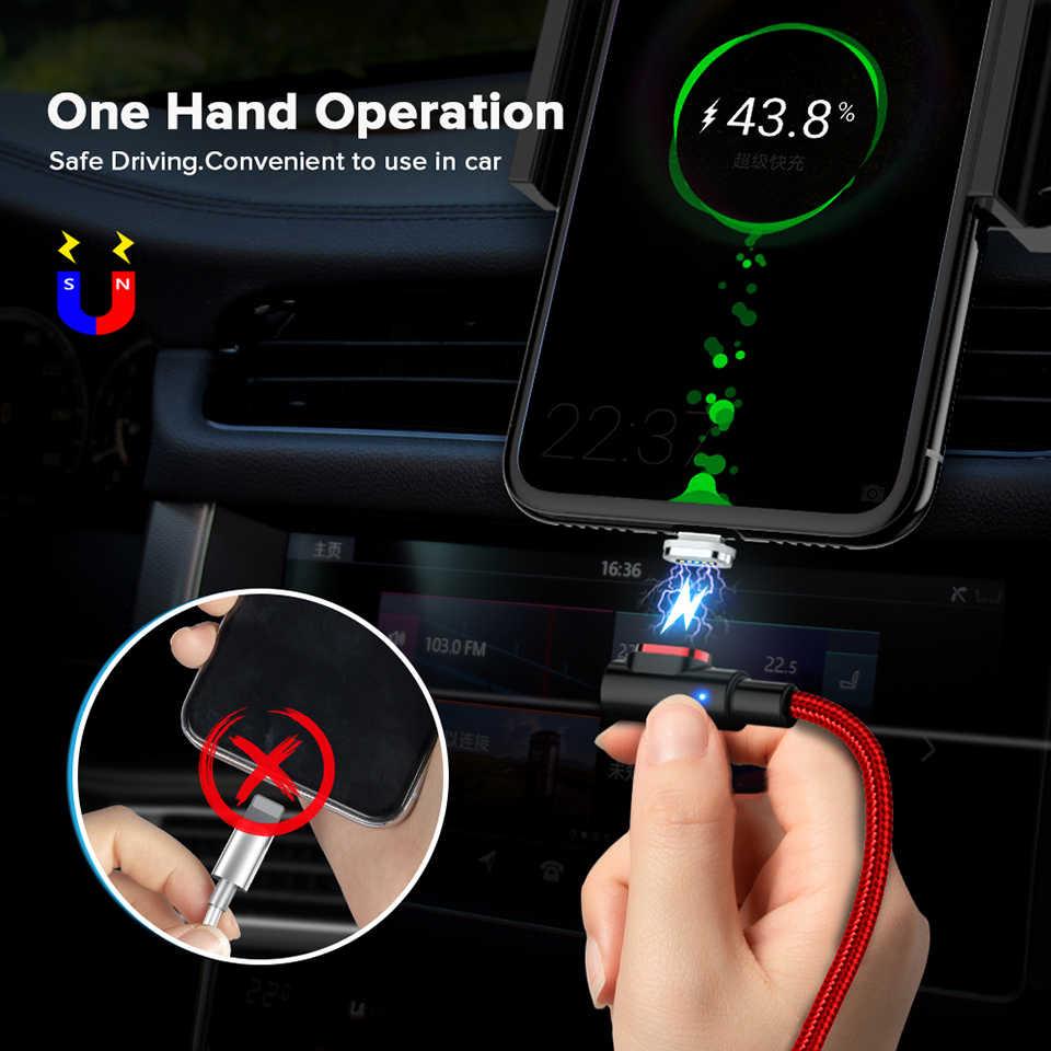 3A Schnelle Schnell Ladung Führte Licht 90 Grad Usb Typ C Magnet Kabel Magnetische Ladegerät Kabel für Xiaomi Mi 10 pro Redmi Hinweis 8 9 Pro