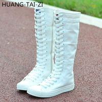 women's new fashion knee high flat heel canvas boots lace up zipper woman shoes female casual long breathable boots dance shoes