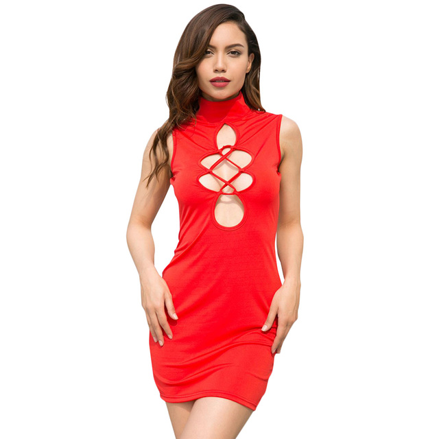 Sexy Women Bodycon Mini Dress Cutout Front High Neck Sleeveless Hollow Out Dress Solid Slim Party Vintage Dress Red/Black Ropa 2