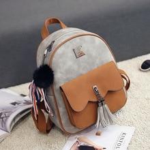 Mujeres de la manera mini mochila de cuero de las señoras pequeñas mochilas mochilas de viaje femeninos de época borla mochila escolar adolescente niñas