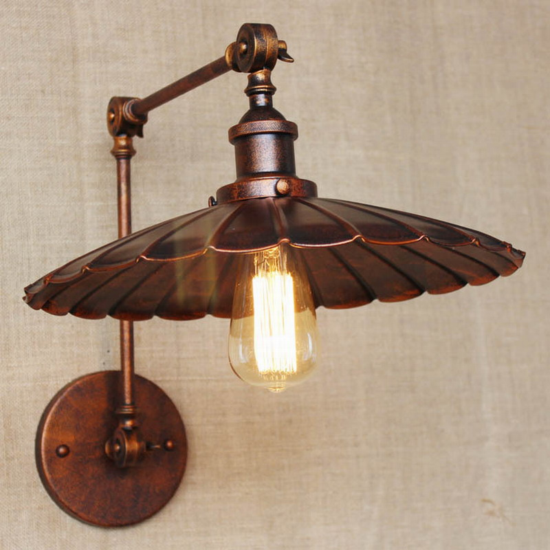 Industrial Portuguese Style Antique Rust Wall Lamp/swing Arm Wall Lighting  For Workroom/Bathroom Vanity 2 Applies Arm Tornado In Wall Lamps From Lights  ...