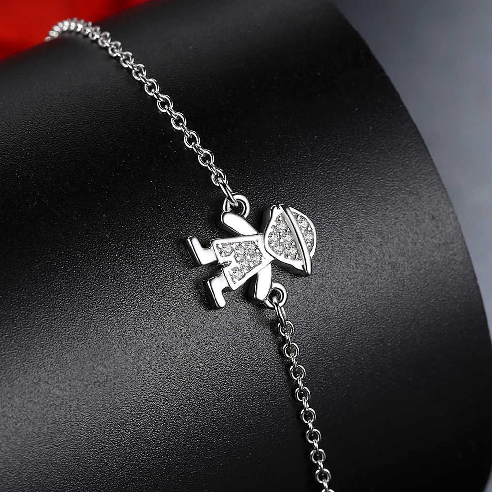 ELESHE, настоящий 925 пробы, серебряный браслет-цепочка и браслет, милый Хрустальный Браслет для мальчиков и девочек, детские ювелирные изделия
