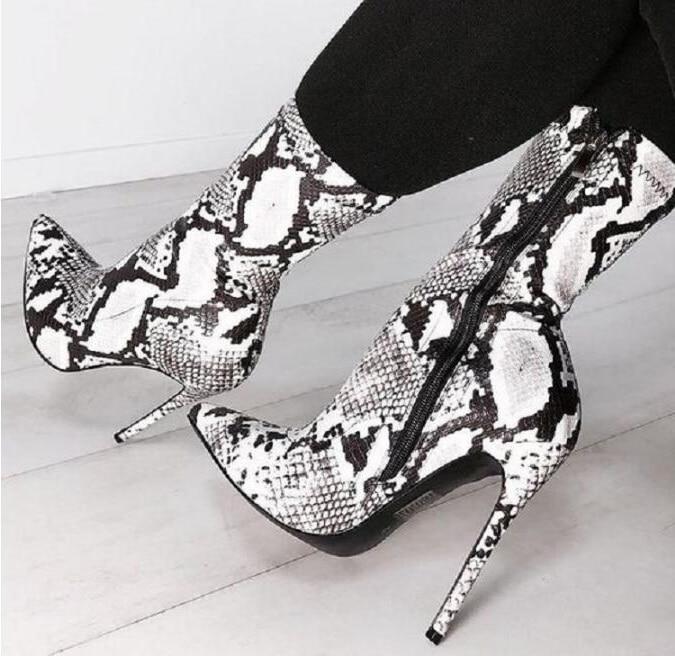 Sexy Black White Snakeskin Boot Pointed