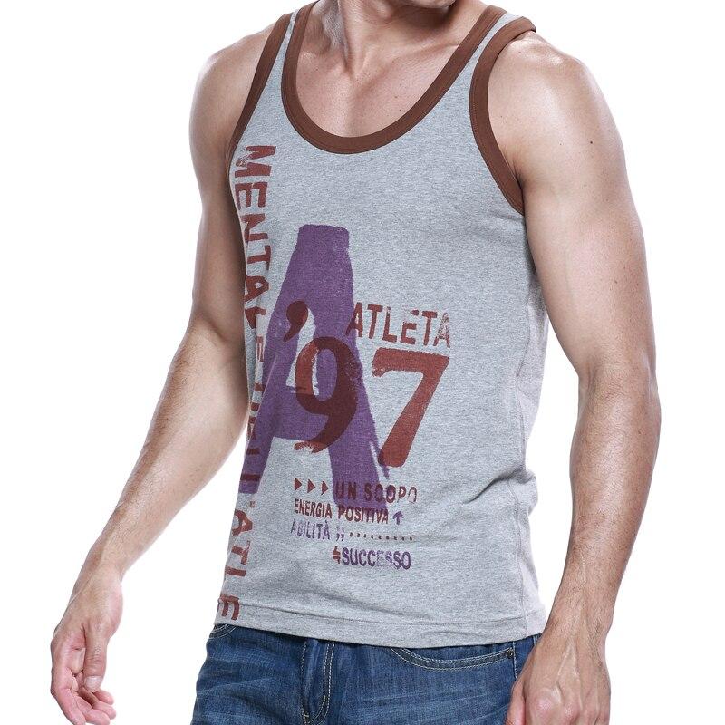 SEOBEAN New Men's summer fashion cotton letter slim   tank     top