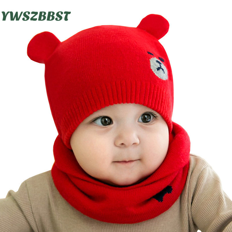 New Knit Infant Hat Baby Hat Scarf set Toddler Hats for Girls and Boys Spring Autumn Kids Cap Scarf sets for 0 to 12 months