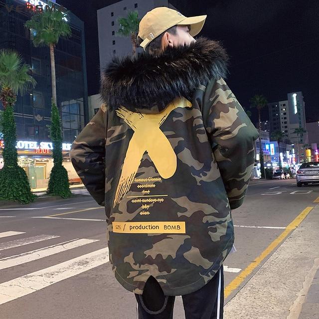 Big Promo VERSMA 2018 High Street X Camouflage Bomber Winter Jacket Parka Men Korean Harajuku Pilot Flight Military Parka Men Dropshipping