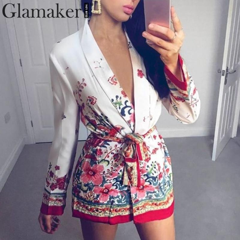 Glamaker Floral print lace up belt sexy kimono   blouse   Women summer long sleeve   blouse     shirt   Female elegant holiday casual   shirts