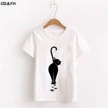 Женские топы размера плюс, Корейская Новая Модная хлопковая футболка с коротким рукавом, Harajuku Kawaii, белая футболка с черными котами