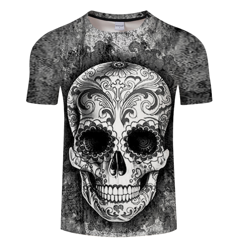 be44865a3 sugar skull t shirt Men Funny Red Purple Gray Skull Head Printed T Shirt  Cool Summer Tops Casual Tee hiphop streetwear Clothing