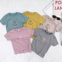 fef29c791052 1621 2019 Summer Kids Top New Short Sleeve T-shirt Smile Face Printed  Cotton Tshirts Girls Clothes For Children