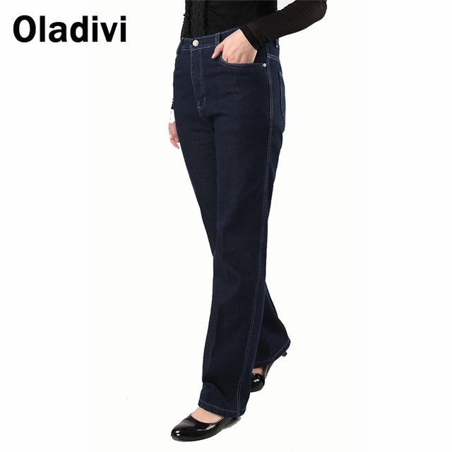 Gran Tamaño de La Moda 2016 Mujer Vintage Talle Alto Denim Jeans para Mujer de Invierno Cálido, Además de Terciopelo Pantalones Térmicos Pantalones Rectos