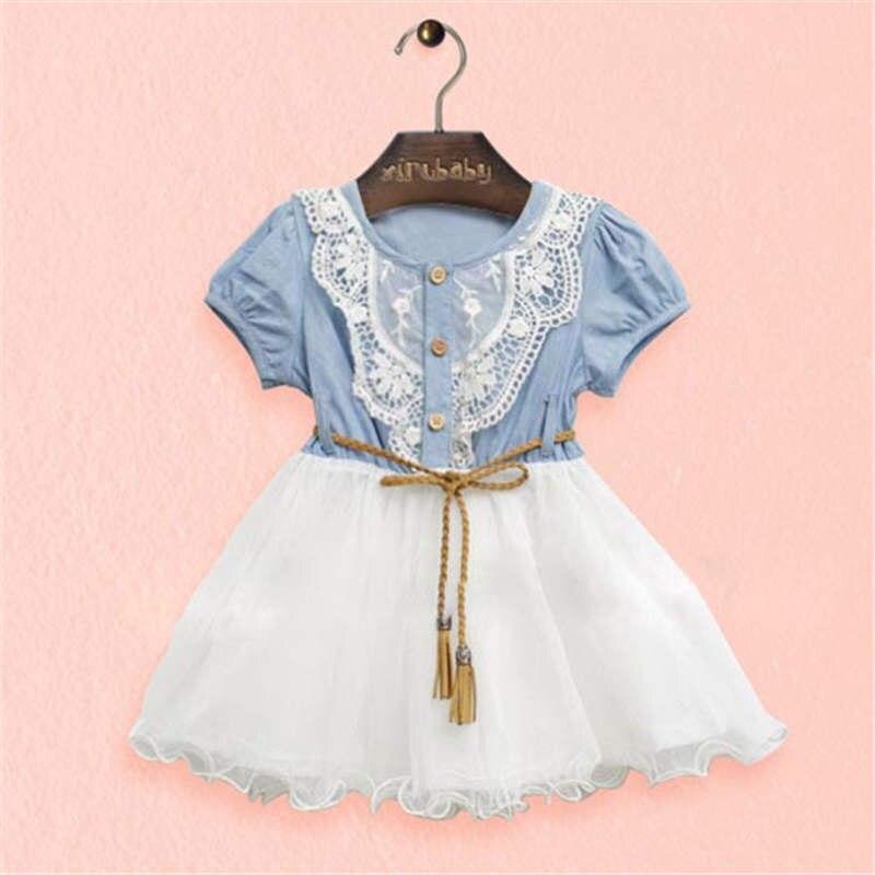 Vestido para niñas Nuevo Bebé Ropa Denim encaje vestidos tops blanco ...