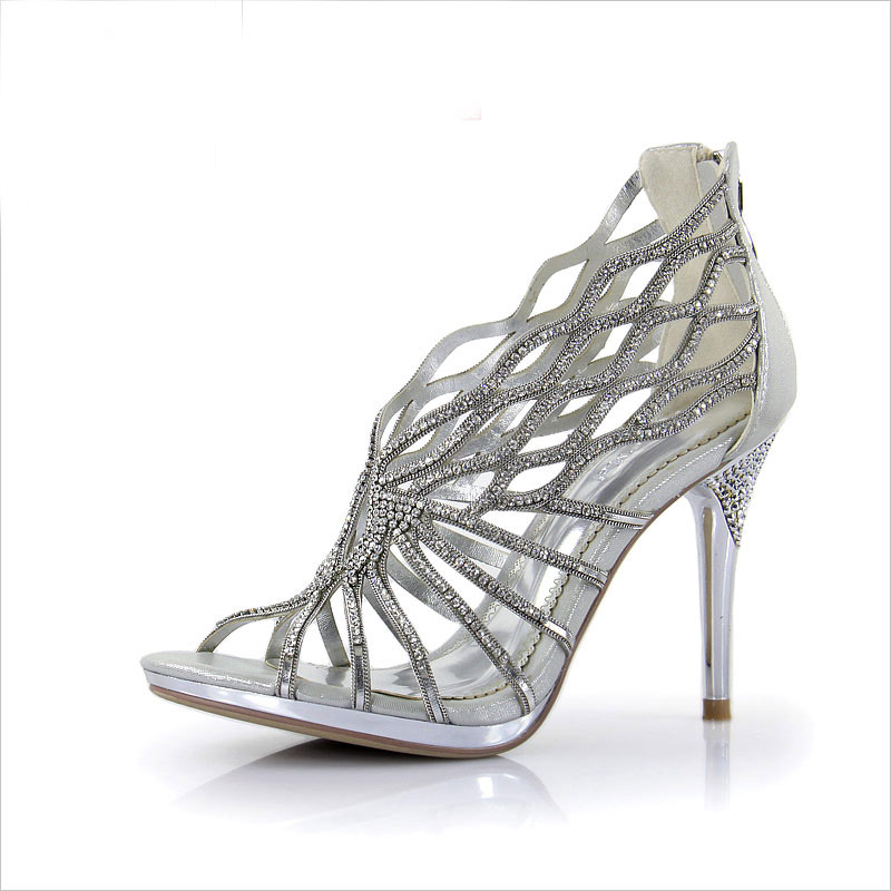 Bridal Shoes Silver: 2018 New Hot Sale Gorgeous Fashion Silver Rhinestone Shoes