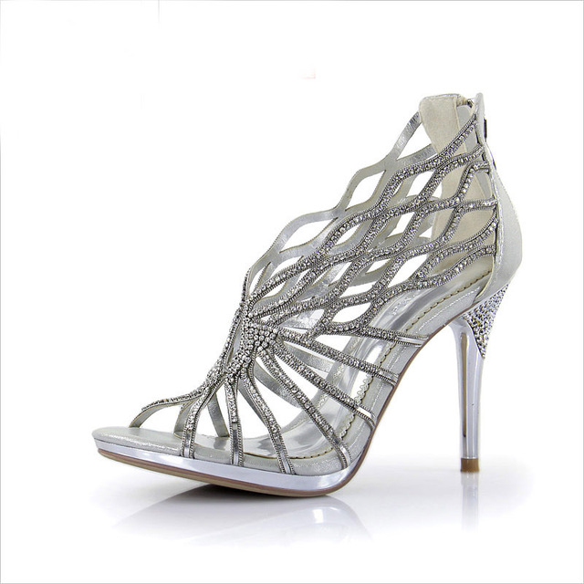 0546714d4dd 2018 New Hot Sale Gorgeous Fashion Silver Rhinestone Shoes Wedding Shoes  for Bridal Shoes Banquet Party Prom Dress Shoes