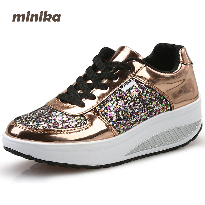 Minika women Shoes Casual Women bling wedges  Flats Platform Breathable Fashion Spring Lace Up Walking Shoes Loafers 7e05 tesilixiezi new spring summer fashion candy color bling flats platform shoes wegde breathable women casual shoes footwear