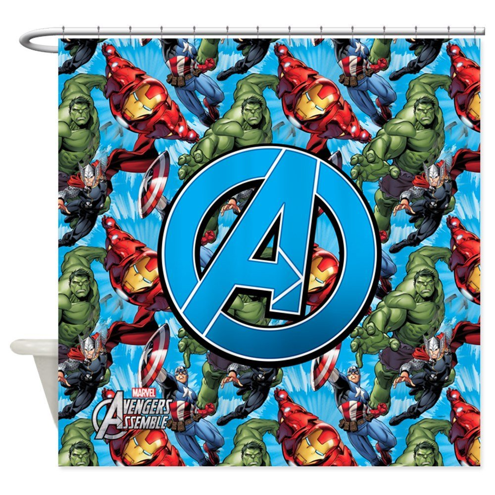 Circle A Avengers Decorative Fabric Shower Curtain Set And