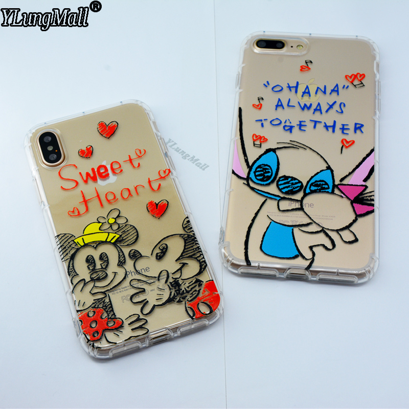 YLungMall Fundas for iPhone X Case Cute Mickey Minnie Mouse Stitch Phone Case Coque for iPhone 6 6s 7 8 Plus Soft Silicone Cover