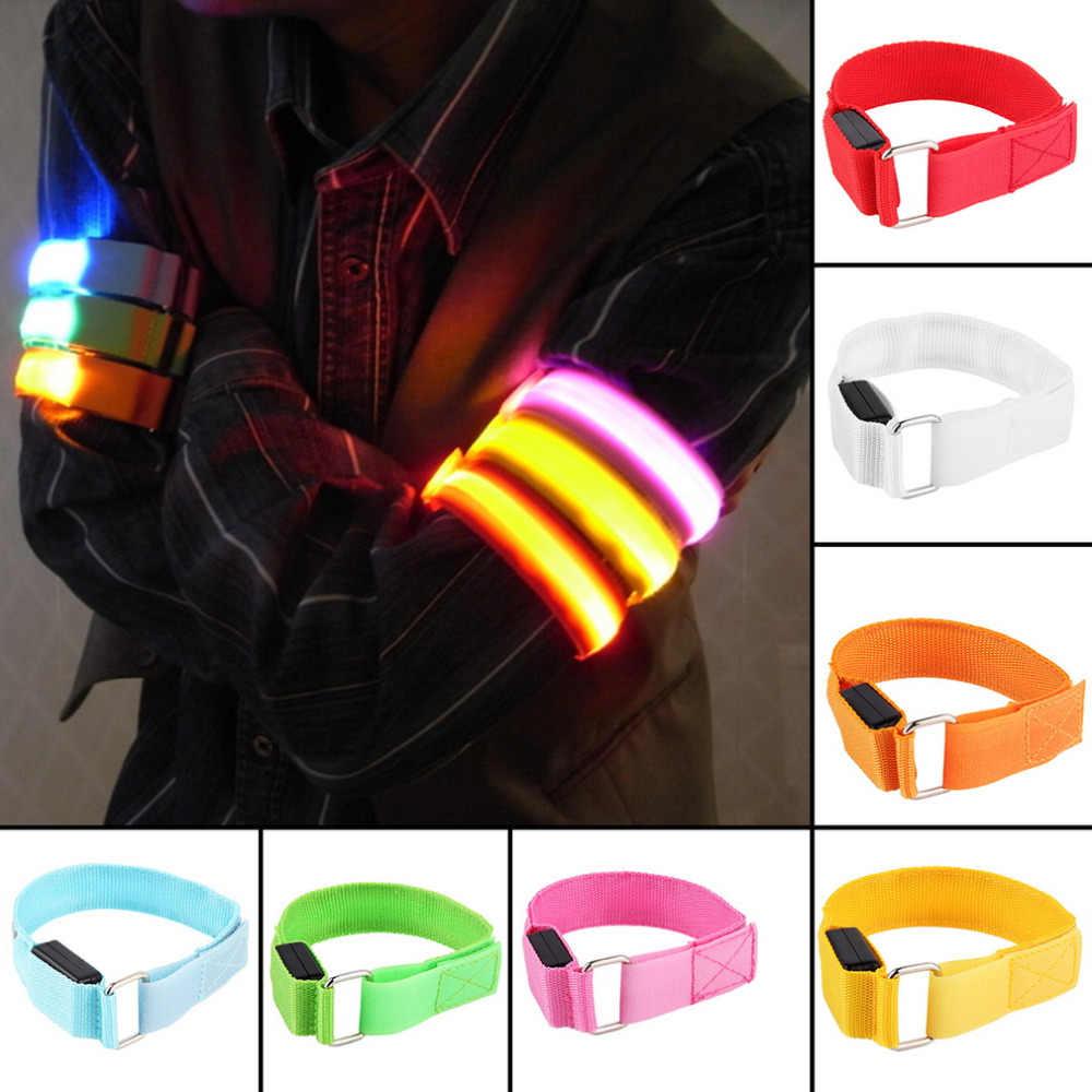 Elegantes bandas de brazo LED, iluminación de brazaletes, bandas de seguridad para piernas, Correa reflectora, cinta para el brazo, muñequera brillante