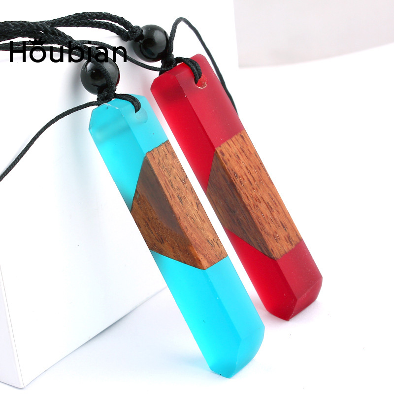 Houbian Solid Wood Pendants Necklaces Sweaters Chain National Tourism Accessories Solidification Time Resin Hand Bags Pendants