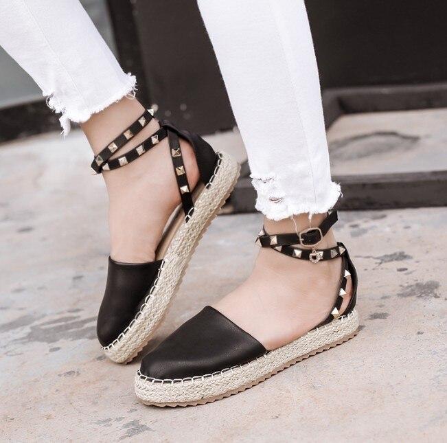 Aiykazysdl 2018 Cross Summer Beach Mujer Zapatos Espadrilles Ankle Wrap Cross 2018 Strap Rive c66cd2