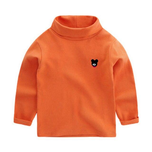 Child 2016 Autumn Boys Base T Shirt Kids T-shirt For Girls Children Boy Clothes Cotton Turtleneck Warm Tops Tees Solid Underwear