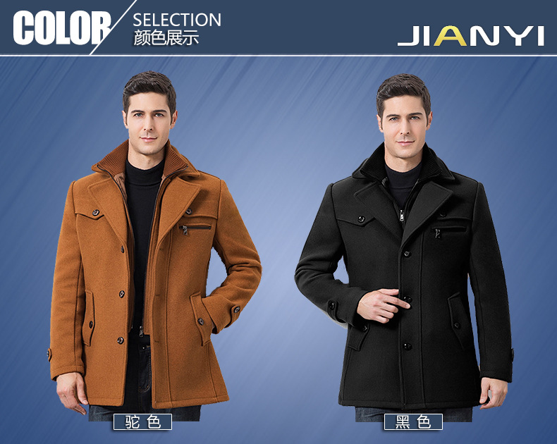Winter Men's Casual Wool Trench Coat Fashion Business Medium Solid Thicken Slim Windbreaker Overcoat Jacket Male Plus Size 5XL 14