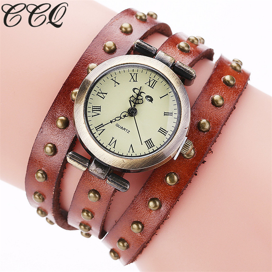 CCQ Brand Vintage Retro Rivet Genuine Women Leather Bracelet Wristwatch Fashion Quartz Watch Relogio Feminino Drop Shipping