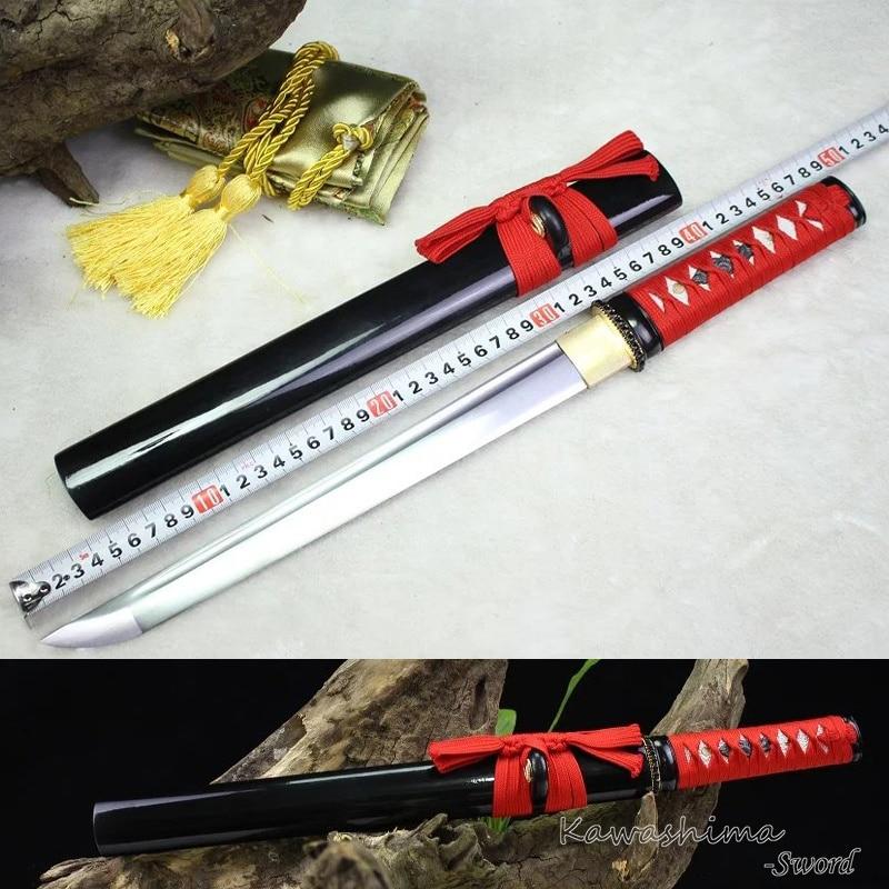 Japoński miecz samuraja ręcznie Wakizashi/Tanto ze stali węglowej pełna Tang ostrość gotowy do cięcia papieru w Miecze od Dom i ogród na  Grupa 1
