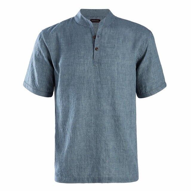 Dioufond 2018 קיץ גברים קצר שרוולים Slim Fit חולצה סיבתי סגנון זכר מנדרינית צווארון חולצות לחצן מוצק גברים אופנה חולצה XL