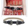 8 Cores 2016 Moda Feminina Do Vintage de Metal Duplo Pin Fivela Calça Jeans Designer de Cinto de Couro Para As Mulheres escultura Fivela cós