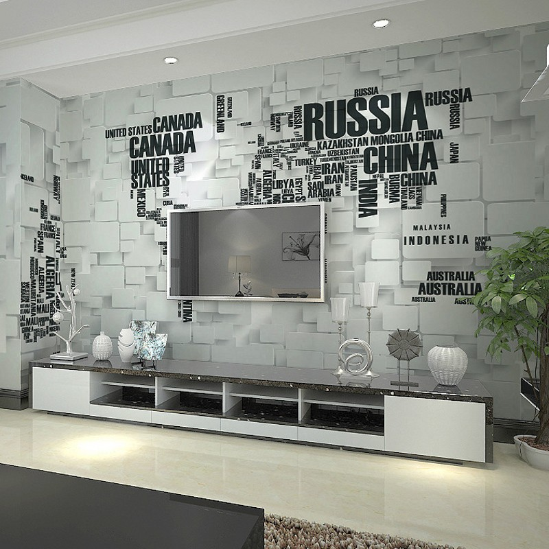 Custom 3d brick wall murals personalized letters world map for Living room 6 letters