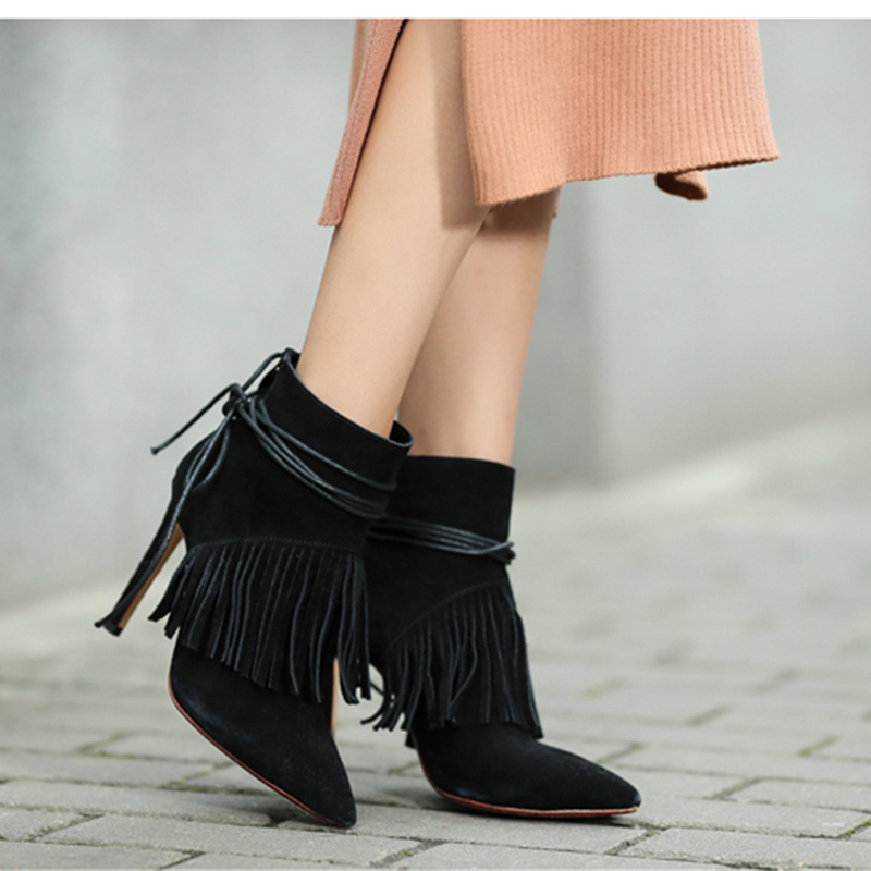 European Fashion Women Boots Sexy Pointed Toe High-heeled Tassel Female Short Boots Thin Heel Fringe Women Autumn Winter Shoes