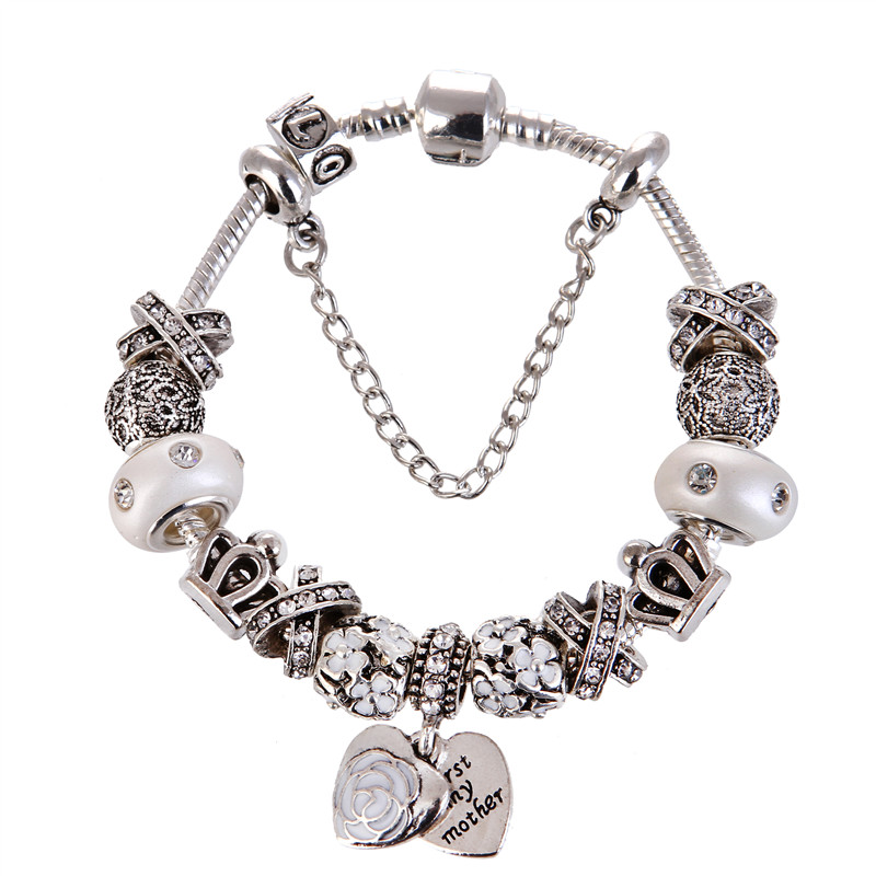 High Quality Silver plated white crystal Beads Heart Pendant Charms Noble Pretty Pandora Bracelet For Women/Gril gift jewelry