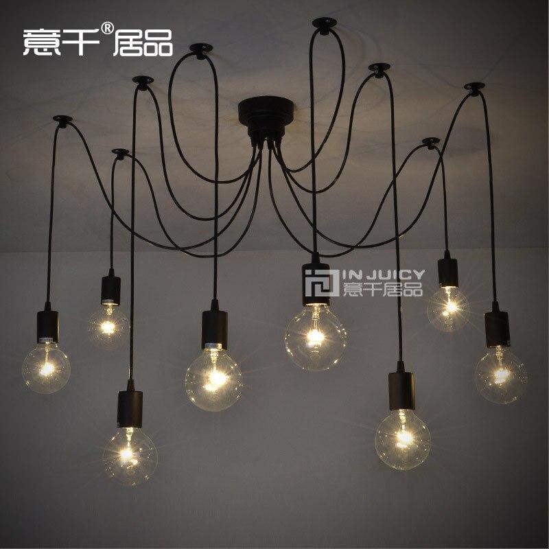 6 lumières télécommande Edison Bar Club pendentif LED lampe 110 V ou 220 V araignée café café café boutique lampe