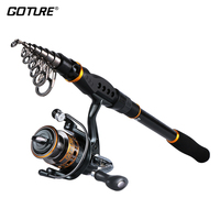 Goture Fishing Reel Rod Combo 2.1M/2.4M/2.7M/3.0M/3.6M Telescopic Rod with 2000/3000/4000 series Spinning Reel Rod Set