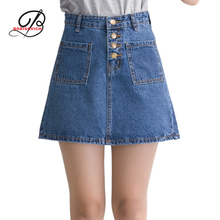 Borisovich 2017 Spring Summer Fashion Mini Denim Skirt Package Hip Skirt Female High Waisted A-line Student Skirts M383