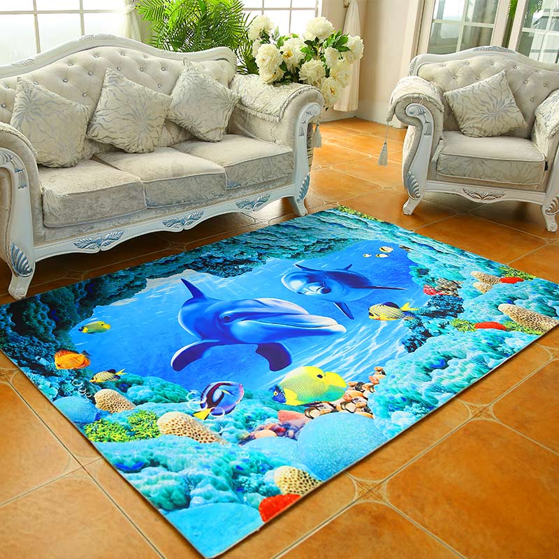 Modern Animal Dolphin Fish Livingroom Carpets For Bedroom
