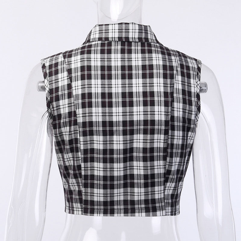 Rosetic Gothic Chic Sexy Club Punk Black Plaid Women Tops Vest Slim Lapel Zipper Chain Plaid Female Goth Retro Hip Hop Shirt in Vests amp Waistcoats from Women 39 s Clothing