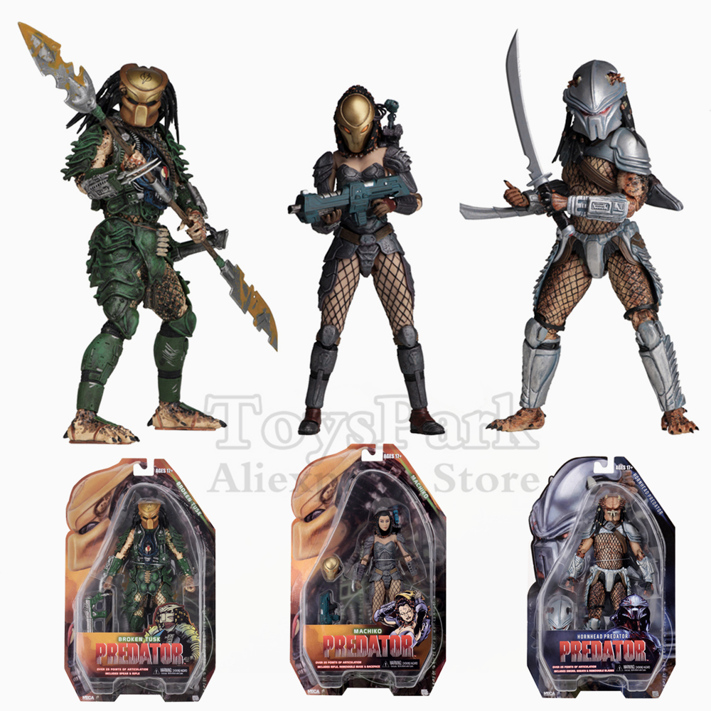 Original NECA Series 18 Aliens VS Predator 7 Action Figure AVP Broken Tusk Hornhead Machiko Female