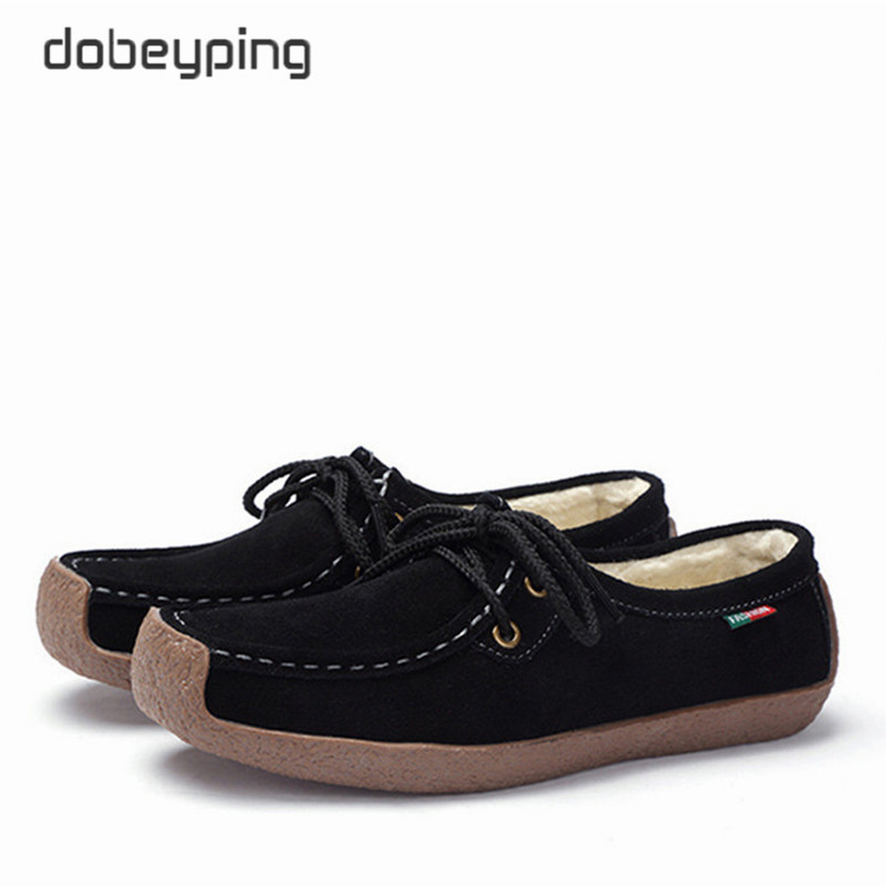 dobeyping Genuine   Leather   Shoes Woman Lace Up Women Sneakers Warm Plush Women's Loafers Moccasins Female Winter Shoe Size 35-42