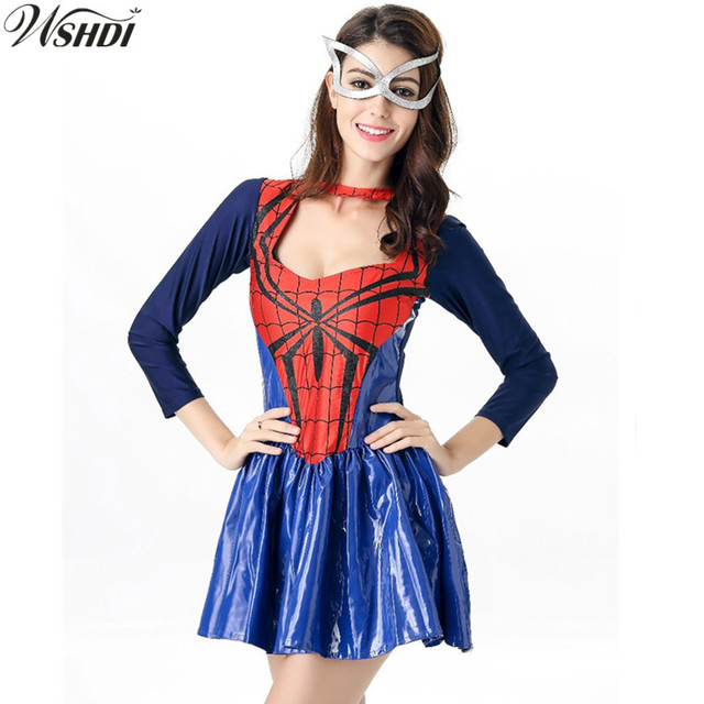 2018 New Spider Girl Costumes Adult Spiderman Superhero Costume for Women Halloween Fancy Masquerade Party Dress  sc 1 st  AliExpress.com & 2018 New Spider Girl Costumes Adult Spiderman Superhero Costume for ...