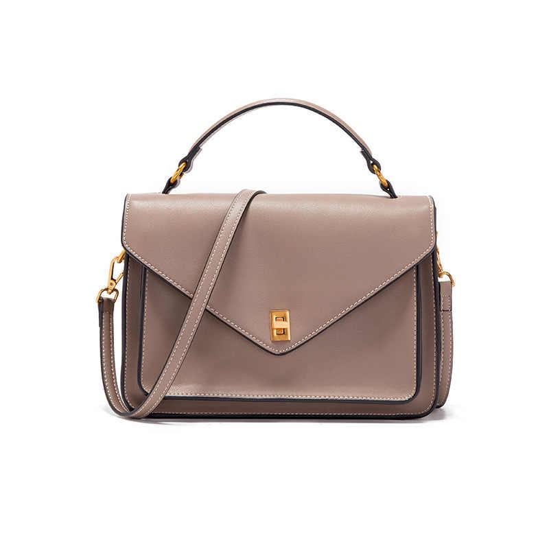 New Fashion Genuine Leather Women's Satchels Bag Leisure Shoulder Bag  Classic Crossbody bag Solid Color Top Handle Bag| | - AliExpress