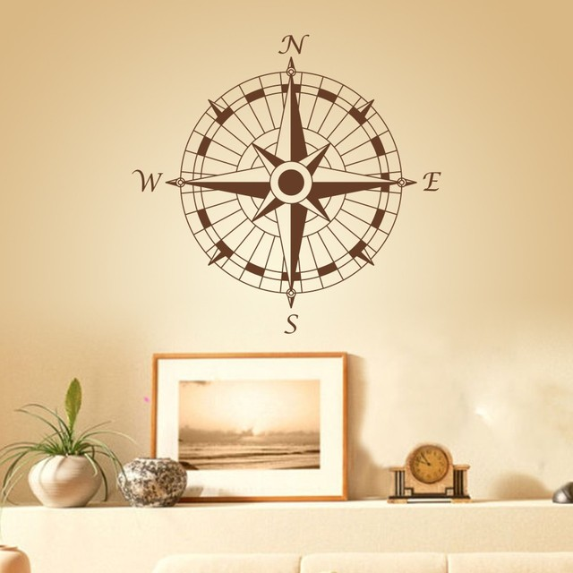 Nautical Compass Wall Decal Office Vinyl Wall Sticker Art Graphic - Vinyl wall decals for office